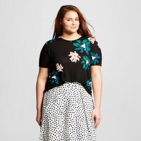 Woman's Plus Size Printed Floral T-Shirt - Target