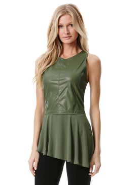 Asymmetrical Faux Leather Top - Peony