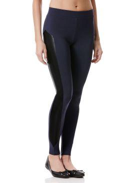 Faux Leather Ponte Leggings - Woman's Pants - Peony